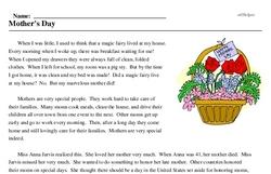 Print <i>Mother's Day</i> reading comprehension.