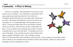 Print <i>Community - A Place to Belong</i> reading comprehension.