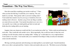 Print <i>Transitions - The Way You Move...</i> reading comprehension.