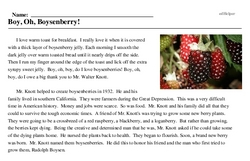 Print <i>Boy, Oh, Boysenberry!</i> reading comprehension.