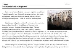 Print <i>Stalactites and Stalagmites</i> reading comprehension.