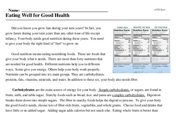 Print <i>Eating Well for Good Health</i> reading comprehension.