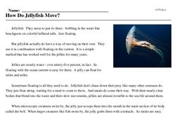 Print <i>How Do Jellyfish Move?</i> reading comprehension.