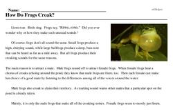 Print <i>How Do Frogs Croak?</i> reading comprehension.