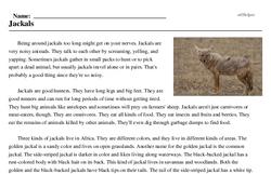 Print <i>Jackals</i> reading comprehension.