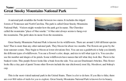Print <i>Great Smoky Mountains National Park</i> reading comprehension.