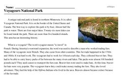 Print <i>Voyageurs National Park</i> reading comprehension.