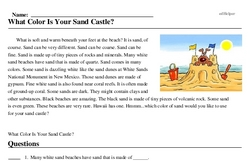 Print <i>What Color Is Your Sand Castle?</i> reading comprehension.
