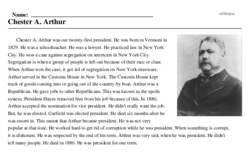 Print <i>Chester A. Arthur</i> reading comprehension.