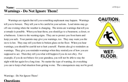Print <i>Warnings - Do Not Ignore Them!</i> reading comprehension.