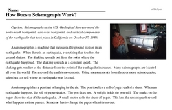 Print <i>How Does a Seismograph Work?</i> reading comprehension.