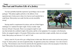 Print <i>The Fast and Fearless Life of a Jockey</i> reading comprehension.