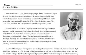 Print <i>Arthur Miller</i> reading comprehension.