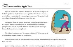 Print <i>The Peasant and the Apple Tree</i> reading comprehension.