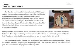 Print <i>Trail of Tears, Part 1</i> reading comprehension.