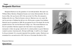 Print <i>Benjamin Harrison</i> reading comprehension.