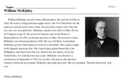Print <i>William McKinley</i> reading comprehension.