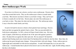 Print <i>How Stethoscopes Work</i> reading comprehension.