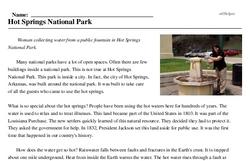 Print <i>Hot Springs National Park</i> reading comprehension.