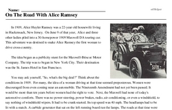 Print <i>On The Road With Alice Ramsey</i> reading comprehension.