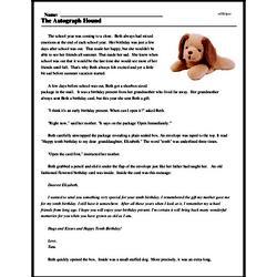 Print <i>The Autograph Hound</i> reading comprehension.