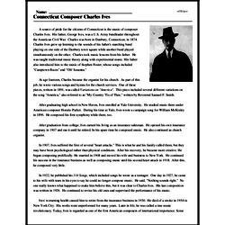 Print <i>Connecticut Composer Charles Ives</i> reading comprehension.