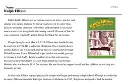 Print <i>Ralph Ellison</i> reading comprehension.