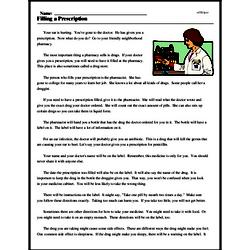 Print <i>Filling a Prescription</i> reading comprehension.