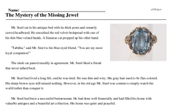 Print <i>The Mystery of the Missing Jewel</i> reading comprehension.