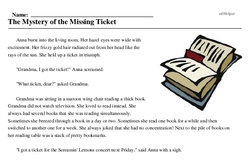 Print <i>The Mystery of the Missing Ticket</i> reading comprehension.