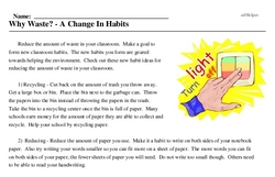 Print <i>Why Waste? - A Change In Habits</i> reading comprehension.