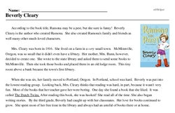 Print <i>Beverly Cleary</i> reading comprehension.