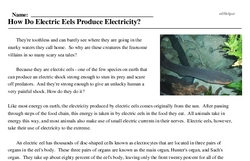 Print <i>How Do Electric Eels Produce Electricity?</i> reading comprehension.