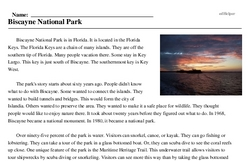 Print <i>Biscayne National Park</i> reading comprehension.