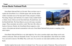 Print <i>Great Basin National Park</i> reading comprehension.