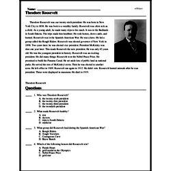 Print <i>Theodore Roosevelt</i> reading comprehension.