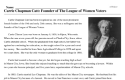 Print <i>Carrie Chapman Catt: Founder of The League of Women Voters</i> reading comprehension.
