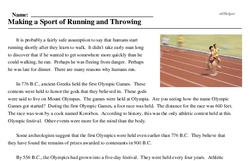 Print <i>Making a Sport of Running and Throwing</i> reading comprehension.