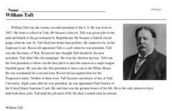 Print <i>William Taft</i> reading comprehension.
