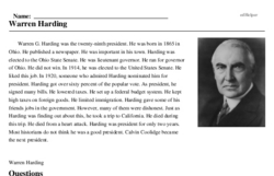 Print <i>Warren Harding</i> reading comprehension.