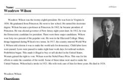 Print <i>Woodrow Wilson</i> reading comprehension.