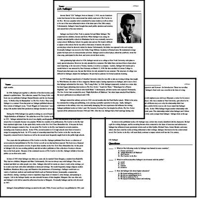 Print <i>J.D. Salinger</i> reading comprehension.