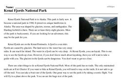 Print <i>Kenai Fjords National Park</i> reading comprehension.