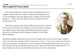 Print <i>The Legend of Casey Jones</i> reading comprehension.