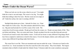 Print <i>What's Under the Ocean Waves?</i> reading comprehension.