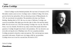 Print <i>Calvin Coolidge</i> reading comprehension.