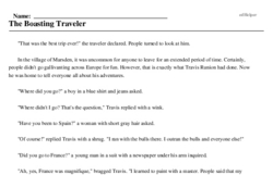 Print <i>The Boasting Traveler</i> reading comprehension.