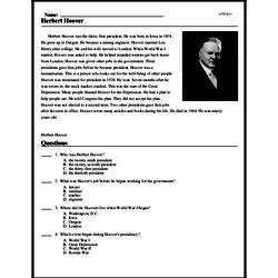 Print <i>Herbert Hoover</i> reading comprehension.