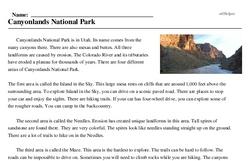 Print <i>Canyonlands National Park</i> reading comprehension.