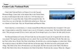 Print <i>Crater Lake National Park</i> reading comprehension.
